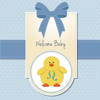 Cartão de boas vindas menino bebê novo