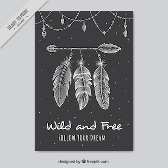 Cartão de boho escuro com seta decorativa e penas