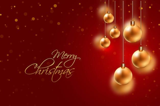 Cartão de bola de suspensão dourada de natal para vermelho