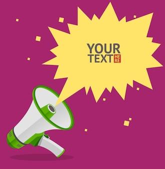Cartão de bolha de texto do megafone. símbolo do alto-falante.