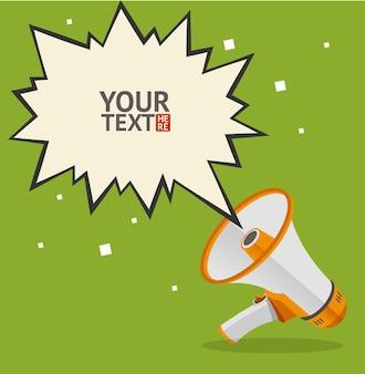Cartão de bolha de texto megafone para seu projeto. plano.