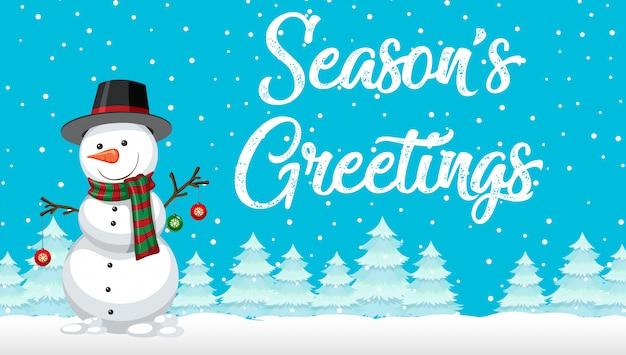 Cartão de boneco de neve de saudações de temporada