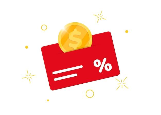 Cartão de bônus do programa de fidelidade. ganhe dinheiro ou pontos. sinal de negócio de atendimento ao cliente de porcentagem de compra. ilustração em vetor renda isolada com moedas