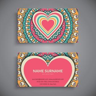 Cartão de buiness com a mandala e do coração
