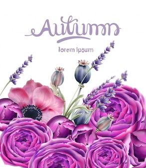 Cartão de buquê de flores de outono