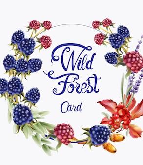 Cartão de buquê de grinalda de frutas da floresta selvagem