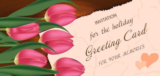 Cartão de buquê de tulipas cor de rosa