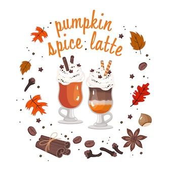 Cartão de café com leite de especiarias de abóbora: dois copos de café com creme, especiarias, grãos de café, folhas de outono, avelã, letras.