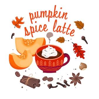 Cartão de café com leite de especiarias de abóbora: xícara de café, canela, especiarias, grãos de café, folhas de outono, avelã, letras.