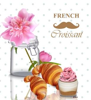 Cartão de café da manhã francês. crocodilo rosa, croissant e iogurte parfait vector