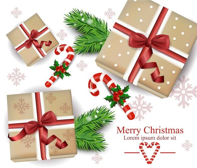 Cartão de caixas de presente de férias de inverno. ilustrações de decoração festiva