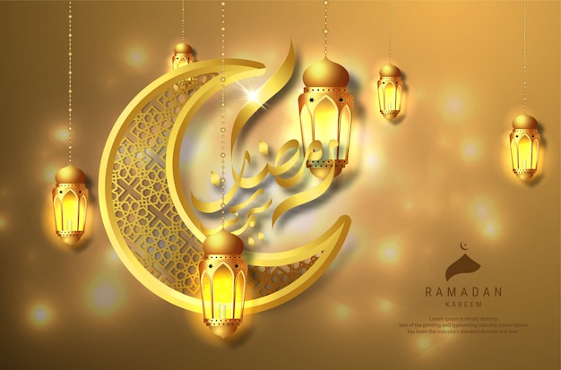 Cartão de caligrafia árabe ramadan kareem