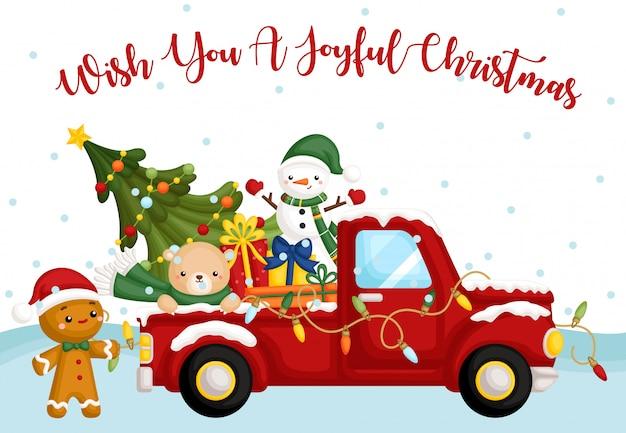 Cartão de caminhão de natal
