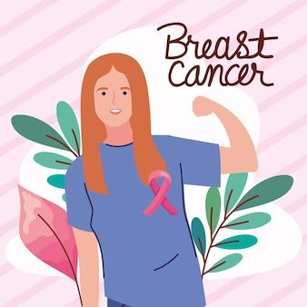 Cartão de câncer de mama com mulher forte