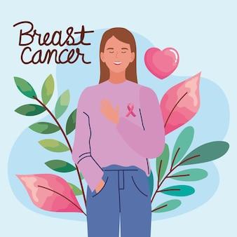 Cartão de câncer de mama com mulher