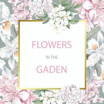 Cartão de capina floral com moldura