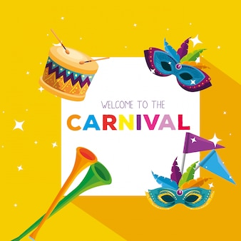 Cartão de carnaval com decoração de máscaras e trompete