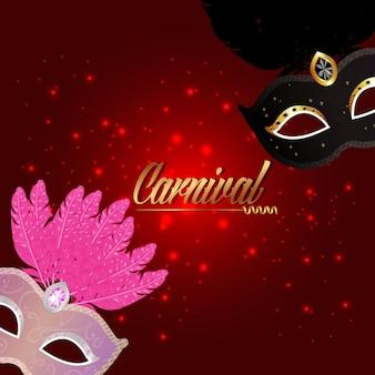 Cartão de carnaval com máscara criativa em fundo vermelho