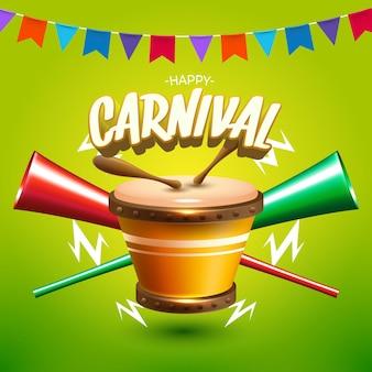Cartão de carnaval com tambor e trombetas