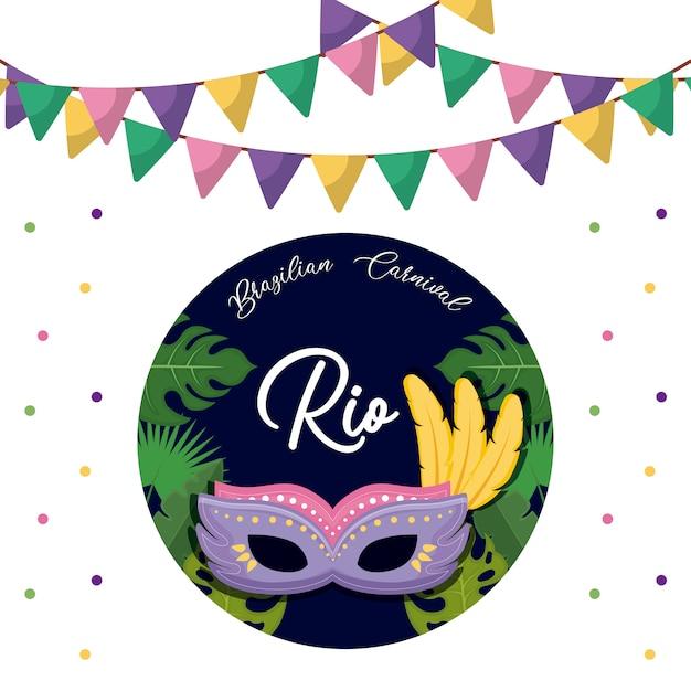 Cartão de carnaval rio com máscara