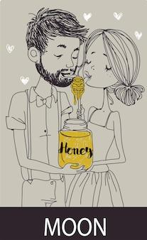 Cartão de casamento. a noiva e o noivo com mel
