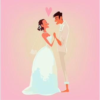 Cartão de casamento. a noiva e o noivo
