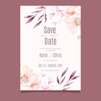 Cartão de casamento adiado aquarela