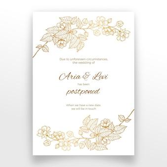 Cartão de casamento adiado com flores douradas
