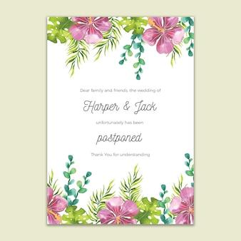 Cartão de casamento adiado design aquarela