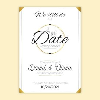Cartão de casamento adiado design desenhado de mão