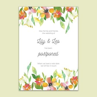 Cartão de casamento adiado design floral