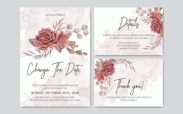 Cartão de casamento adiado em aquarela floral