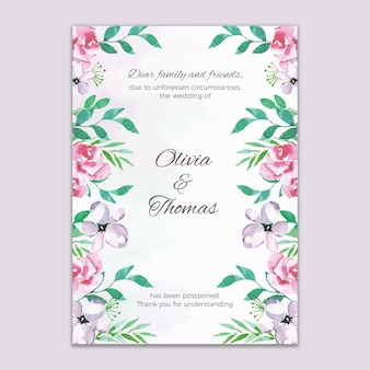 Cartão de casamento adiado estilo aquarela