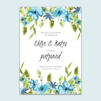 Cartão de casamento adiado estilo floral