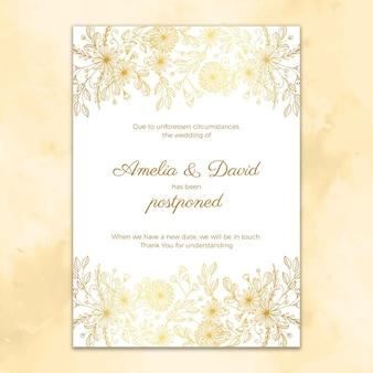 Cartão de casamento adiado estilo mão desenhada