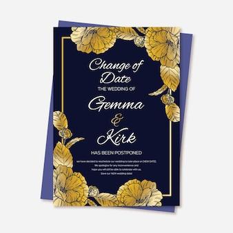 Cartão de casamento adiado mão desenhada com flores