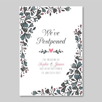 Cartão de casamento adiado mão desenhada