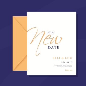 Cartão de casamento adiado tipográfico
