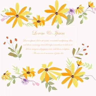 Cartão de casamento amarelo flowr
