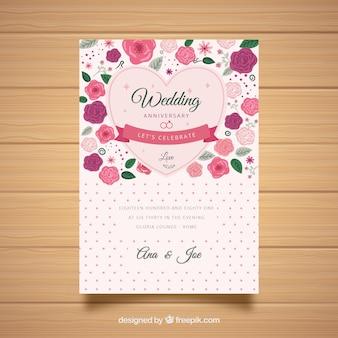 Cartão de casamento anniversaty com flores