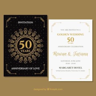 Cartão de casamento anniversaty com ornamentos de ouro