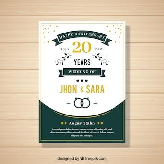 Cartão de casamento anniversaty em estilo simples