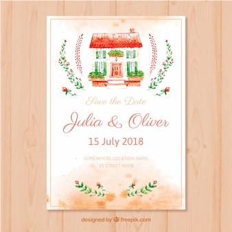 Cartão de casamento aquarela com linda casa