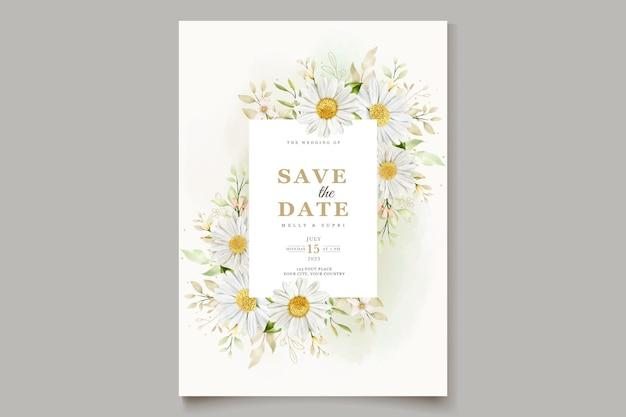 Cartão de casamento aquarela crisântemo