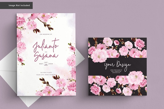 Cartão de casamento aquarela flor de cerejeira