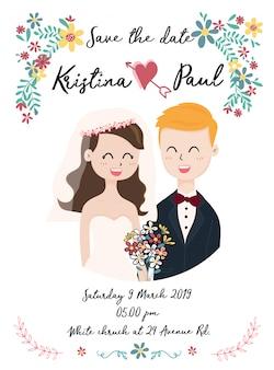 Cartão de casamento bonito com casal em grinalda de flores