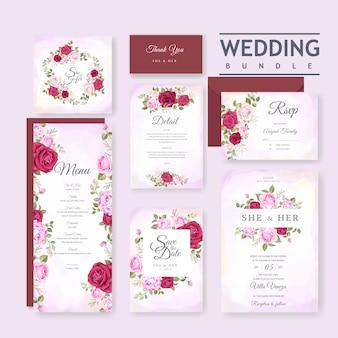 Cartão de casamento bonito com floral e deixa o modelo de plano de fundo