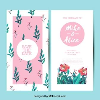 Cartão de casamento bonito com flores e folhas