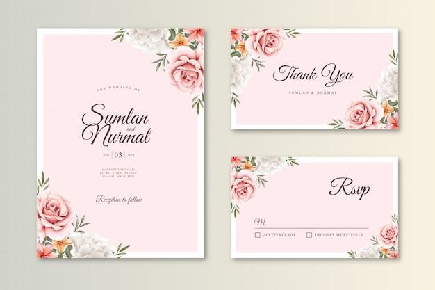 Cartão de casamento bonito conjunto aquarela modelo