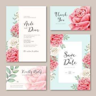 Cartão de casamento bonito conjunto floral com flores de peônias